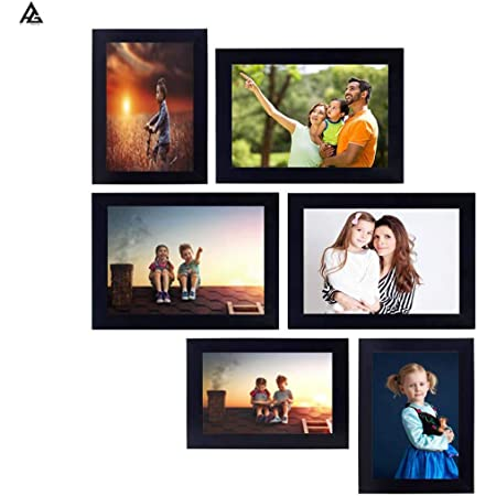 AG Crafts™ - Wall Collage Photo Frames - (Set of 6, Wall Hanging)-Black (Black)