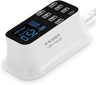 USB 充電器 Type c 充電器 急速充電器 [コンセント USB コンパクト 液晶ディスプレイ iPhone, Android, Type-C 等対応] ホワイト (KA-JA-170021A)