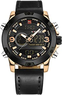 NAVIFORCE Luxury Brand Analog Digital Leather Sports Army Military Man Quartz Watches