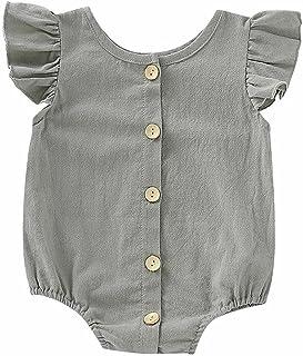 الرضع الطفل بنات الفتيان داخلية الوليد اللون النقي الكشكشة يطير رومبير قصيرة الأكمام بذلة (Color : Gray, Kid Size : 12M)