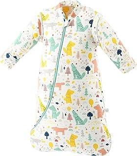 SaponinTree Baby vinter sovsäck, 2,5 Tog ekologisk bomull baby sovsäck med avtagbara långa ärmar, sovsäck för spädbarn små...