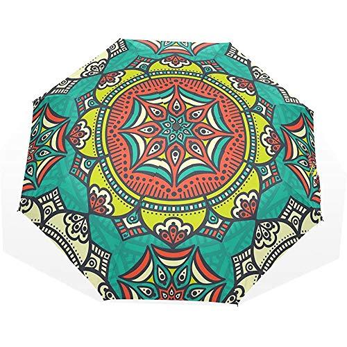 Retro Mandala Blumenmuster Wasserdichter kompakter Regenschirm Sonnenblock Regenschirm Faltbarer Sonnenschirm-TXB-396