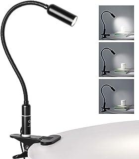 Flexo LED con pinza, luz lecturacon pinza de 4W, lámpara de escritorio, control de contacto, regulable, cuidado de ojos, lámpara de cama con 3 niveles de brillo (Negro, Control tactil)