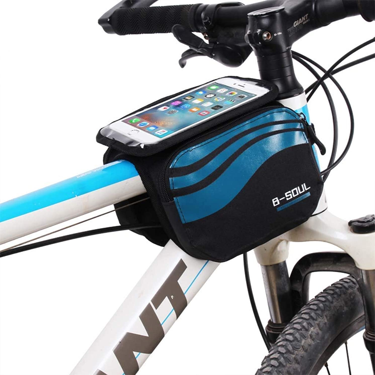 Cloud Bike Frame Bag, Bicycle Phone Mount Cycling Front Top Tube Pouch Frame Phone Holder Bag Pannier (Color : Dark Blue, Size : 5.7 inches)
