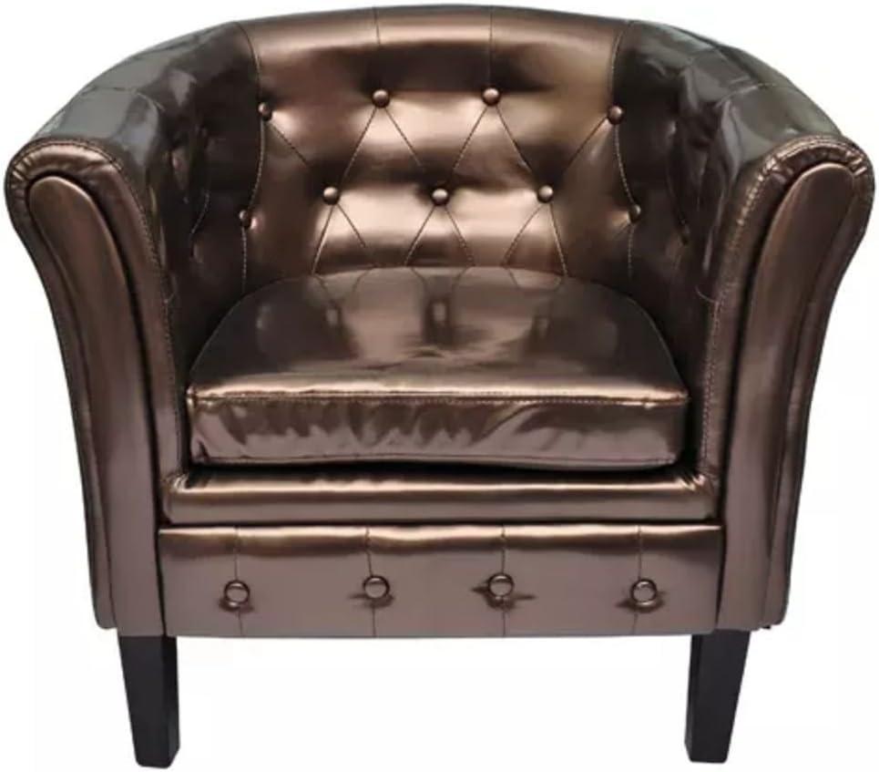 Furnituredeals Sillon con Diseno de Cubo Sillon con Botones de Cuero Artificial Marron Sillon reclinable