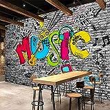 Creative Graffiti Art Music Brick Wall Painting KTV Bar Living Room Home Decoración de la pared Wallpaper Murales Papel Pintado a papel Fotográfico Fotomural dormitorio-150cm×105cm