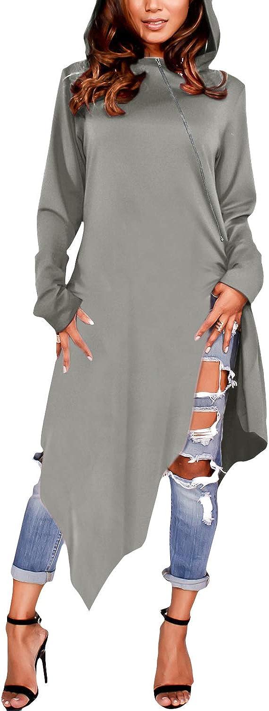 ZANZEA Women's High Low Long Hoodies Sweatshirts Long Sleeve Pullover Sweater Dress Cloak Tunic Tops