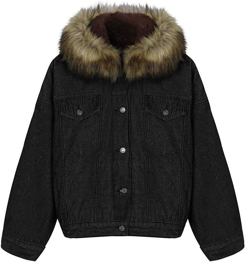 Women Winter Denim Upset Jacket Vintage Hooded Long Sleeve Loose Jeans Coat