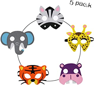 Kids Animal Felt Masks for Boys Girls Jungle Safari Themed Birthday Party Favors
