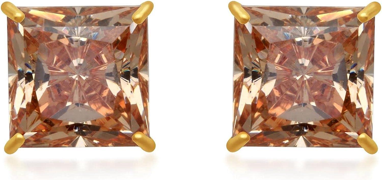 Jewelili 10K Yellow Gold 6MM Princess Cut Champagne Cubic Zirconia Stud Earrings