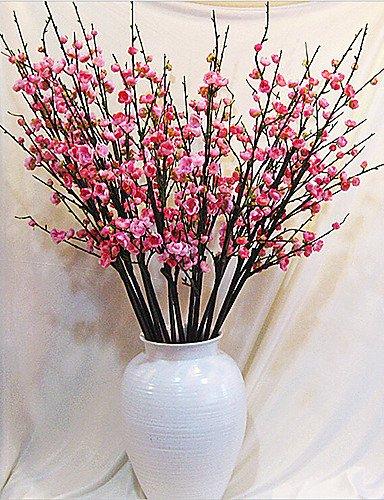 LVLIANG Mode Bouquet,Fleurs artificielles Soie/Plastique Prune Fleurs artificielles, Dark Pink