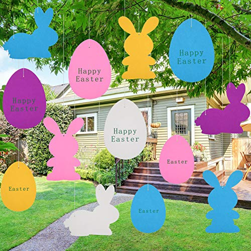 Chuangdi 20 Pezzi Decorazione d'Attaccatura di Pasqua Ornamento in Feltro d'Uovo Ghirlanda in Feltro Coniglietto per Festa Decorazioni per Il Prato di Pasqua