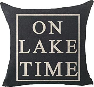 "Best FELENIW On Lake time Throw Pillow Cover Cushion Case Cotton Linen Material Decorative 18""x18"