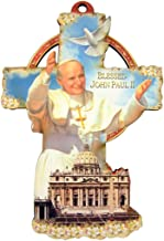 Blessed Pope Saint John Paul II with Holy Dove Icon on Wooden Wall Cross, 6 Inch