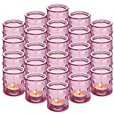 """24-Pack Glass Vintage Candle Holders Votive Candle Wax Cups Tealight Holders - Ideal for Table Centerpieces, Wedding Prom ,Party, Home Decor, 2.28""""D x 2.75""""H"""