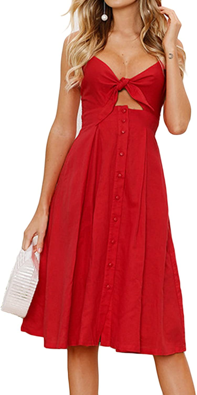 Allfennler Women's Summer Sexy Spaghetti Strap Button Backless Bowknot Pleated Swing Long Dress