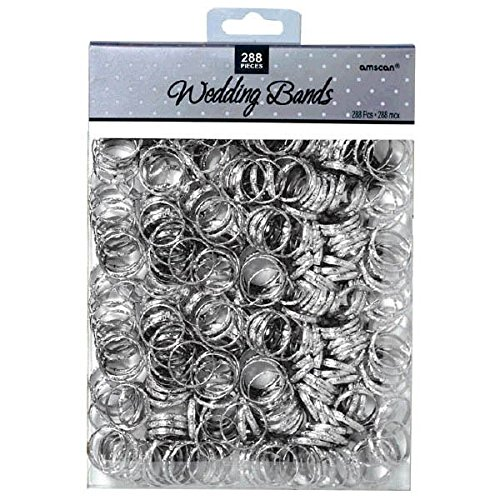 """Contemporary Bands - Wedding Party Novelty Favors, 288 Pieces, Made from Paper, Silver, 3/4"""" by Amscan"""