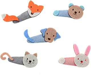 MAXGOODS 5 Pack Cute Animal Pattern Non-Slip Hair Clips,Cat Bear Fox Rabbit Baby Headwear Hairpin for Baby Girls Toddlers Kids