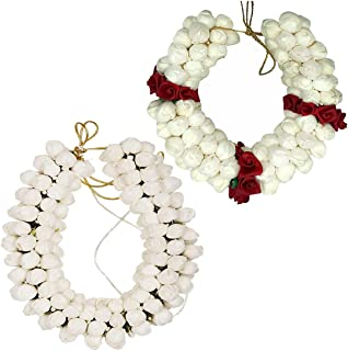 Pack Of 2 - Red And White Hair Accessories Fabric Material Artificial Jasmine Mogra Flower Artificial Juda Maker Flowers J...