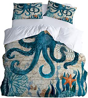 Rose Auroma 3D Octopus Bedding Set Duvet Seagrass Starfish Bedding 3D Blue Ocean Bedding, Octopus Bedspread 3 Piece Duvet ...