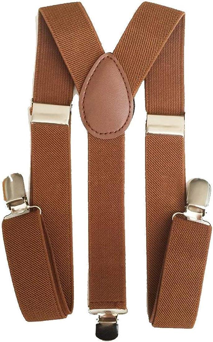 Kalagiri Men's and Women's Enamel Elastic Adjustable Braces Trouser Y-Back Clip On Suspender (Brown, Free Size)