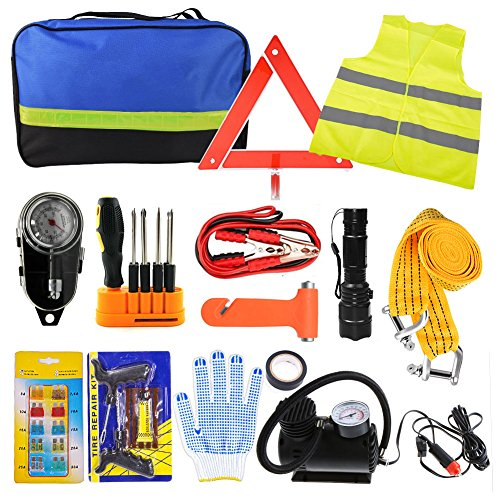 Car Emergency Kit, Roadside Assistance Auto Emergency Kit, 14-piece Tool Set Car Safety Kit with Jumper Cables, Tire Pressure, Tow Trap for Travel Camping Adventure for your Truck, Car, SUV (1)