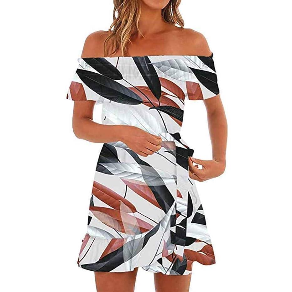 chengzhijianzhu Women's Dress Off Shoulder Print Perfect Tie-Waist Mini Slim Sundress(S-XL)