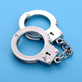 Redcolourful Imitation Double Handcuffs Shape Metal Keyring Car Waist Hanged Key Chain Pendant Electronic