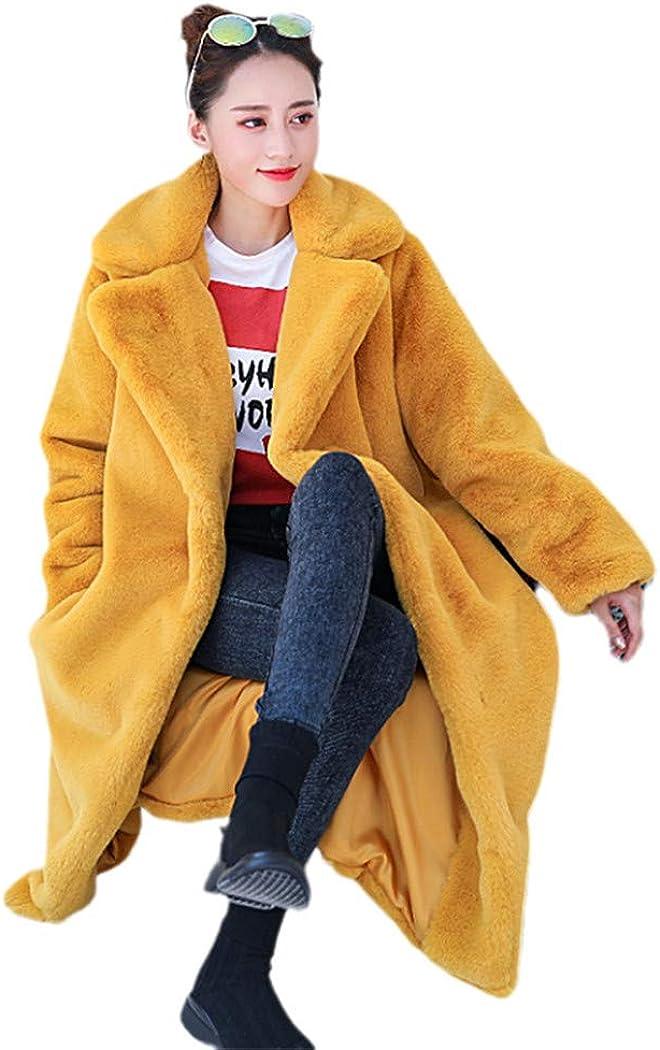 Winter Women Faux Fur Coat Luxury Long Fur Coat Loose Lapel Overcoat Thick Warm Plus Size Female Plush Coats