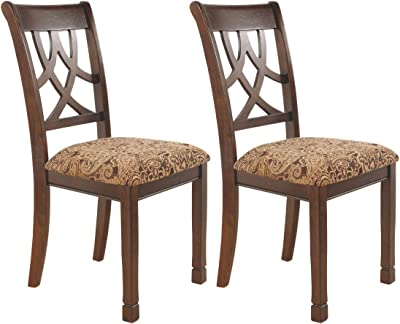 2ce7cfedf230 Ashley Furniture Signature Design - Leahlyn Dining Upholstered Side Chair -  Pierced Splat Back - Set