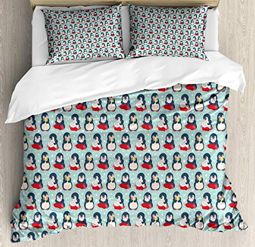 Scott397House Bird Print Super King Bedding Duvet Cover 3 Piece, Winter Pattern of Penguins with Polka Dots, Soft Bedding Protects Comforter with 1 Comforter Cover And 2 Pillow Case, Blue Multicolor