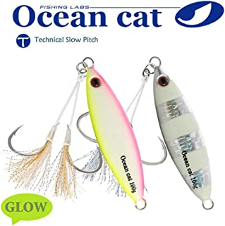 OCEAN CAT 1 PC Slow Fall Pitch Fishing Lures Sinking Lead Metal Flat Jigs Jigging Baits with Hook for Saltwater Fishing 2 Colors 100G