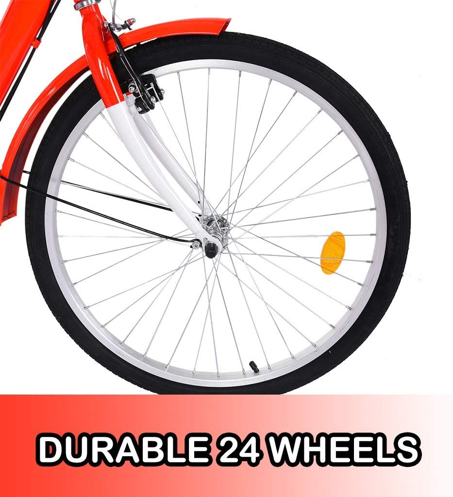 Max Load Capacity 330 Lbs Adult Tricycle 1//7 Speed,24Inch 3 Wheeled Trike Bicycle with Large Shopping Basket,Bicycle Cruise Trike with High Strength Steel Frame for Recreation Shopping Exercise