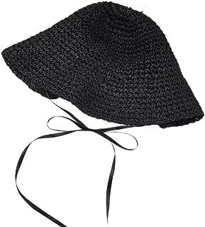 Sunhat Straw Hat Beach Hat Summer Shade Sunscreen Caps for Women Fashion(Black)