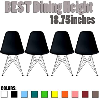 2xhome Set of Four (4) - Plastic Side Chair Chromed Wire Legs Eiffel Legs Dining Room Chair - Lounge Chair No Arm Arms Armless Less Chairs Seats Wire Leg, Black