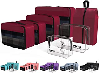 YAMIU Packing Cubes 7-Pcs Travel Organizer Accessories with Shoe Bag & 2 Toiletry Bags(Wine Red)