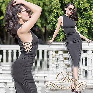 ミディアムドレス サイド レース アップ ハイネック ワンピース ブラック