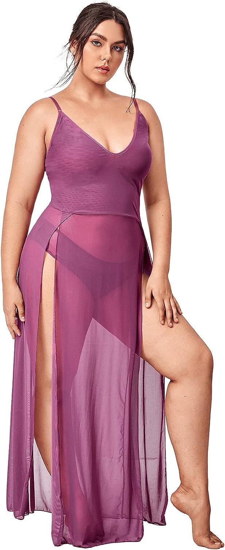 SOLY HUX Women's Plus Size Split Long Mesh Lingerie Dress Babydoll Chemise
