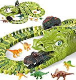 Dinosaur Toys for Kids Gift 282pcs,Dinosaur Theme World Race Toy with 240 Flexible Track Playset, 10...