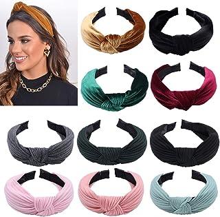 Fluwelen gebreide knoop hoofdbanden, 10 stuks elastische brede haarband tulband antislip lint geknoopte hoofdbanden voor v...