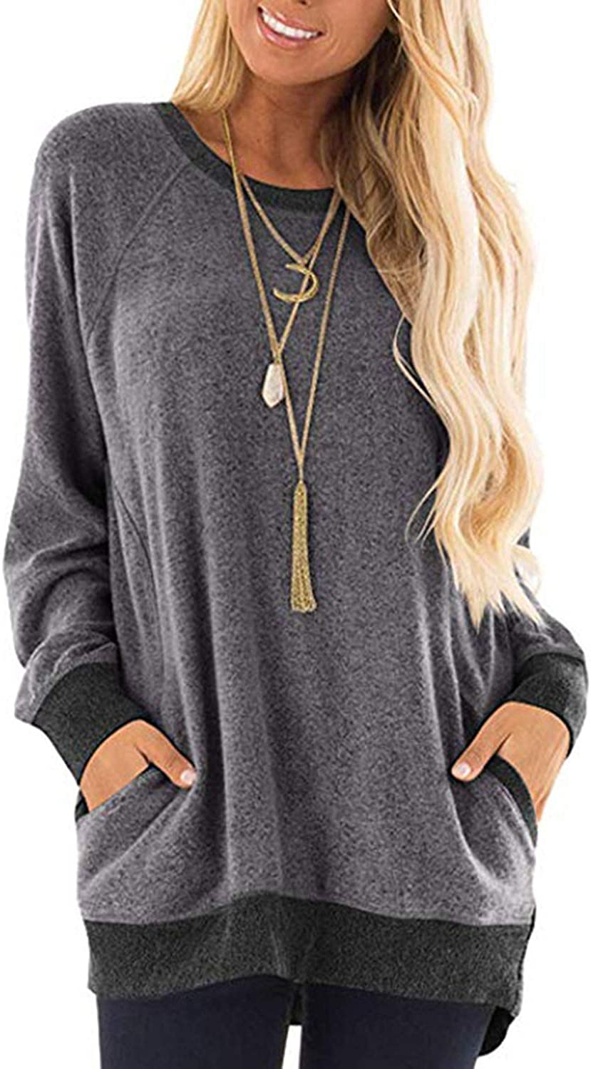 Womens Baggy Long Sleeve Sweatshirts Comfy Sweaters Color Block Blouses Tops T Shirts