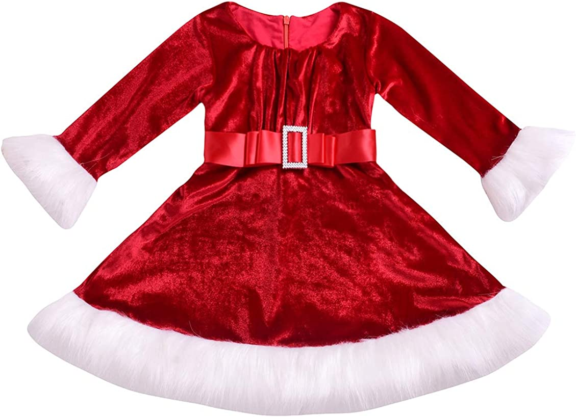 Little Girls' Large discharge sale Holiday Max 64% OFF Christmas Santa Red Sparkle wit Dress Hood