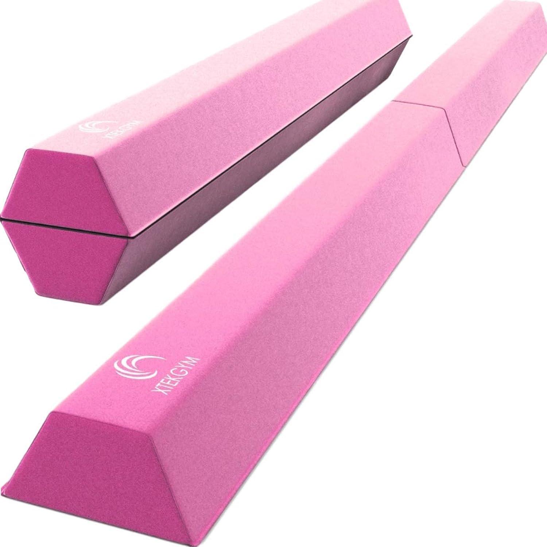 XTEK Gym 8ft Foldable Balance Beam, Extra Long Floor Gymnastics Beam   Lightweight & Heavy Duty Foam   Professional Home Training Gymnastics Equipment for Kids Adults
