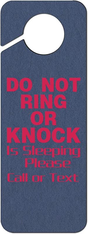 JWOJJUAW Do Not Ring Or Knock Pink Baby Is Sleeping Please Call Or Text 1 Plastic Door Knob Hanger Sign Warning Tag For Hotel Room Home Decoration