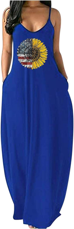 WoCoo Maxi Dress for Women, Summer Beach Plus Size Dress,American Flag & Sunflower Print Dress Independence Day Sundress