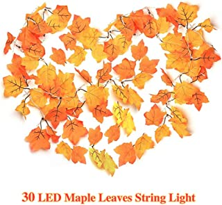 MKLOT Thanksgiving Decorations Lighted Fall Leaf Garland Christmas Decor String Lights 3M 30 LED Maple Leaves Lighting with 3 AA Battery Operated Indoor Home Party Festival