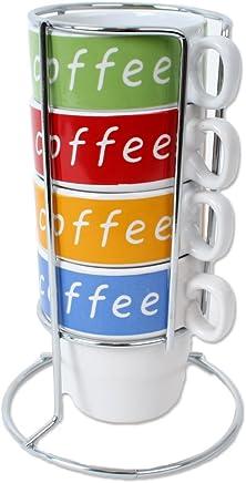 Preisvergleich für 4 Tassen Set Tower Cafe Latte Design Tassen Keramik im Metall Ständer verchromt