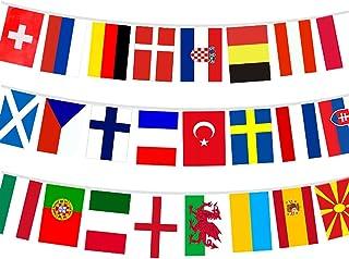 U/D Europeiska fotbollsmästerskapet bunting, 2021 euro tygflaggning, alla europeiska 24 deltagande team flaggar, flaggor f...