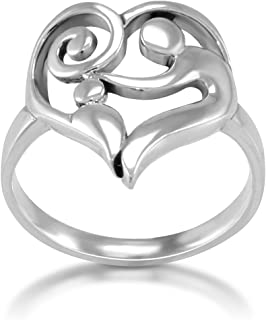 925 Sterling Silver Heart Shaped Mom and Child Love Ring
