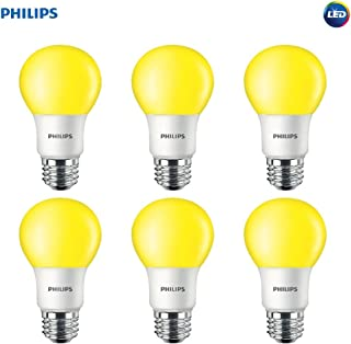 Philips LED 463190 Yellow 60 Watt Equivalent A19 LED Bug Light Bulb, 6 Pack, 6 Piece